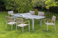 MX Gartenmöbel 7tlg. Esstischruppe Silano FSC ® Akazienholz Tisch 160/220x90