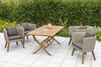 MX Gartenmöbel Imperia Set 5tlg. Esstischgruppe 4x Sessel und Klapptisch FSC ® Akazien