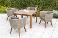 MX Gartenmöbel Imperia Set 5tlg. Esstischgruppe 4x Sessel und quadratischer Tisch FSC ® Akazien