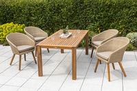 MX Gartenmöbel  Arrone Set 5tlg. 4x Sessel und Tisch Geflecht/FSC Akazie