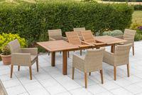 MX Gartenmöbel 7tlg. Esstischgruppe Ranzano Polyrattan FSC ® Akazie Tisch 180/200x100 cm