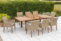 MX Gartenmöbel 9tlg. Esstischgruppe Ranzano Polyrattan FSC ® Akazie Tisch 180/200/260x100 cm
