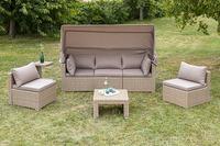 MX Gartenmöbel  Lounge Set Livorno Polyrattan natur