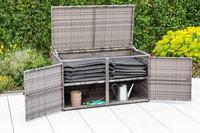 MX Komfort Kissenbox Polyrattan Natur/Grau