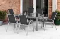 MX Gartenmöbel 7tlg. Esstischgruppe Sorrento silber/anthrazit Tisch 160x90cm