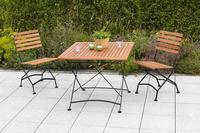 MX Gartenmöbel Schlossgarten Set 3tlg. Klappstühle Tisch 90x90cm