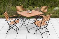 MX Gartenmöbel Schlossgarten Set 5tlg. Klapptisch 90x90cm