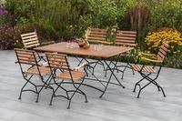 MX Gartenmöbel Schlossgarten Set 7tlg. Klappsessel Hochlehner, Tisch 160x90cm