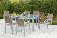 MX Gartenmöbel Ostia Set 7tlg. taupe Tisch 150 x 90 cm
