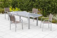 MX Gartenmöbel Ostia Set 5tlg. taupe Tisch 160/220x90cm