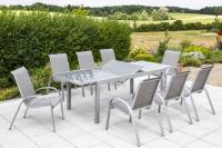 MX Gartenmöbel Amalfi Set 9tlg. braun, Tisch 160/220x100cm