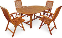IN Gartenmöbel Set Bangor 5-teilig Eukalyptus Tisch 170/220x110cm