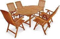 IN Gartenmöbel Set Sun Flair 7-teilig Eukalyptus Tisch 170/220x110cm