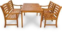 IN Gartenmöbel Set Montana 4-teilig Eukalyptus Tisch 135x85 cm