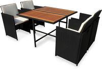 IN Gartenmöbel Set Faro 5-teilig Polyrattan schwarz Tisch 110x110cm