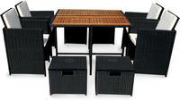 IN Gartenmöbel Set Faro 9-teilig Polyrattan schwarz Tisch 110x110cm
