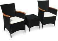 IN Gartenmöbel Stühle Set Valencia 3-teilig Polyrattan schwarz