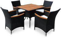 IN Gartenmöbel Set Valencia 5-teilig Polyrattan schwarz Tisch 85x85cm