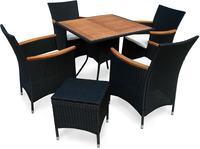 IN Gartenmöbel Set Valencia 6-teilig Polyrattan schwarz Tisch 85x85cm