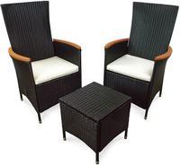 IN Gartenmöbel Sessel Set Valencia 3-teilig Polyrattan schwarz