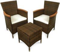 IN Gartenmöbel Stühle Set Valencia 3-teilig Polyrattan braun