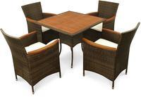 IN Gartenmöbel Set Valencia 5-teilig Polyrattan braun Tisch 85x85cm