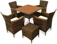 IN Gartenmöbel Set Valencia 6-teilig Polyrattan braun Tisch 85x85cm