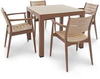 IN Gartenmöbel Set Regnum 5-teilig brown/cappuccino Tisch 90x90cm