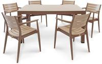 IN Gartenmöbel Set Regnum 7-teilig brown/cappuccino Tisch 150x90cm
