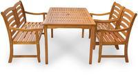 IN Gartenmöbel Set Montana 4-teilig Eukalyptus Tisch 135x81 cm