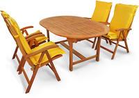 IN Gartenmöbel Set Sun Flair 9-teilig Auflagen Gelb Eukalyptus